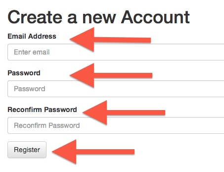 Create a new account form